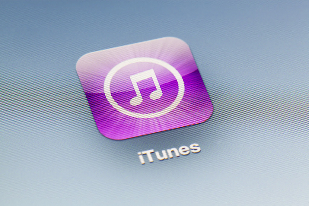 Adelaide, Australia - September 27, 2012: Close-up view of the iTunes icon on an iPad