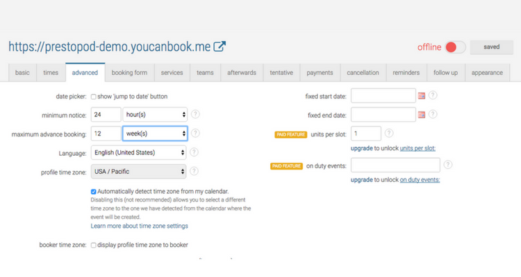 YouCanBook.me - Advanced Settings