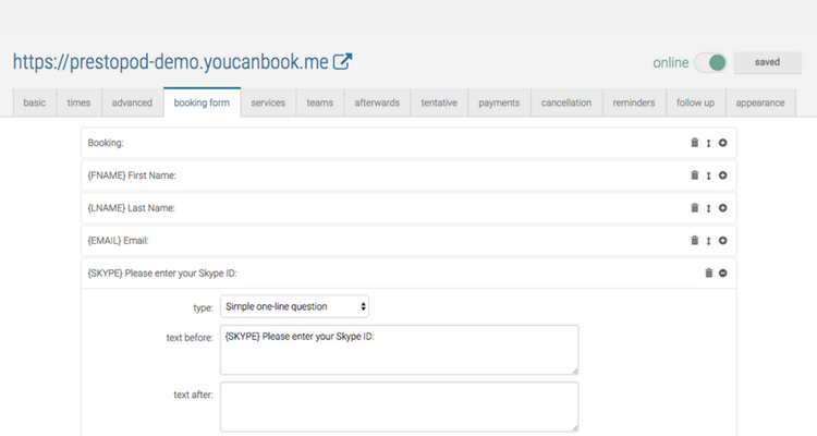 YouCanBook.me - Booking Form